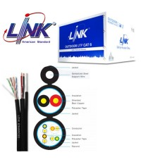 LINK LAN UTP PE Outdoor CAT 6 with Drop wire & Power wire 305 m./Reel ,23 AWG Model. US-9106MW