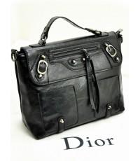 กระเป๋าแฟชั่น หนังPU มีสายหิ้วและสะพายข้าง ตกแต่งด้วยรอยเย็บด้ายสีดำ สัดำ