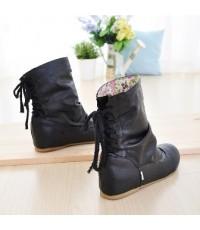 รองเท้าบูทแฟชั่นเกาหลี หนังเงา ด้านในพิมลายดอก มีสายผูกด้านหลัง(พับลงได้) สีดำ ไซส์ 37