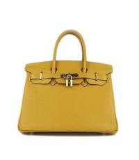 กระเป๋าสะพายหนังแท้สีเหลืองทรงแอร์เมส