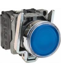 สวิทช์ปุ่มกด-หัวเรียบ กดเด้ง (สีน้ำเงิน ) ต่อตรง ACหรือ DC