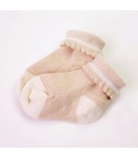 eotton ถุงเท้าลายพื้น สีขาวครีม - น้ำตาลอ่อน