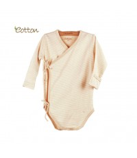 eotton บอดี้สูทกิโมโน เสื้อผ้าเด็กออตต้อน สีน้ำตาลอ่อนลายทาง
