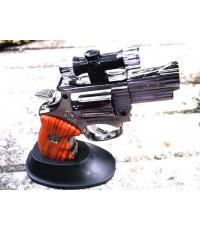 ไฟแช็คปืนรีวอลเวอร์โลหะรมดำ มีเลเซอร์และไฟ LED