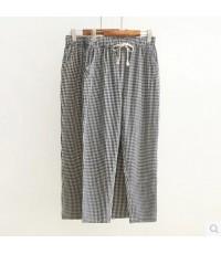 กางเกงขายาว กางเกงลำลอง กางเกงผ้าฝ้าย + ผ้าลินิน ทรงสวย ผ้าลายสก๊อต ใส่สบายทีเดียวคะ แฟชั่นเกาหลี สไ