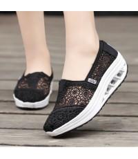 รองเท้าผ้าใบ รองเท้าเพื่อสุขภาพ รองเท้าลำลองเสริมส้น  พื้นสูง 5 cm เนื้อผ้าลูกไม้ใส่สบาย แฟชั่นนำเข้