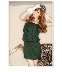 เดรสเกาะอก ผ้า Cotton+Spandex แต่งโบว์ใหญ่ที่อก สีเขียว