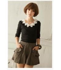 เสื้อยืด ผ้า Cotton+Spandex แต่งโบว์ผ้าซาตินที่คอเสื้อ สีดำ