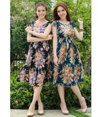 dress แม็กซี่เดรสผ้าหางกระรอกพิมพ์ลาย สวยหวานมาเชียวค่ะ*431