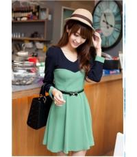 เดรสแฟชั่นเกาหลี แขนยาว ช่วงอกตัดต่อผ้า 2 สี เก๋มากๆ มีสีเขียว