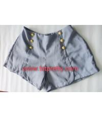กางเกงขาสั้นคนอ้วน สีฟ้าอ่อน มีกรุมดุมแต่งที่ขอบสะโพก เอวยืด 34-42 นิ้ว