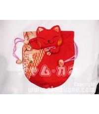 กระเป๋าผ้าแมวน้อยสีแดง