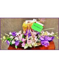 กระเช้าเรือม่วงชมพู flower basket