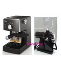 เครื่องชงกาแฟ Philips Saeco Poemia + เครื่องบดกาแฟ  600n Black/Red
