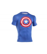Under Armour Captain America Logo Compression S/S T-Shirt Royal/Red
