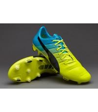 Puma evoPOWER 1.3 Leather FG - Safety Yellow/Atomic Blue