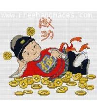 ชุดอุปกรณ์ การปัก ครอสติช  เด็กจีนกอบเหรียญทอง - สำเร็จสมประสงค์ ขนาด 8.5x8 นิ้ว