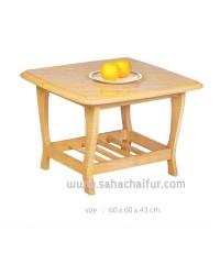 โต๊ะกลางเล็ก สีบีช ไม้ยางพาราแท้ หน้า top ลามิเนตเคลือบแข็ง ทรงสี่เหลี่ยมจัตตุรัส