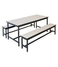 โต๊ะโรงอาหารพร้อมม้านั่ง โต๊ะขนาด 75 x 120 x 75 ซม.