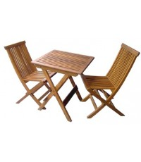 โต๊ะ เก้าอี้พับ ระแนง-ชุดเล็ก ( เก้าอี้ ระแนง2ตัว+ โต๊ะ ระแนง65*65 1ตัว)