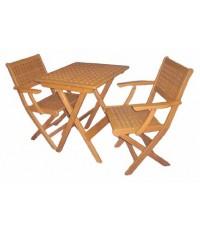 โต๊ะ เก้าอี้พับ ตารางมีแขน-ชุดเล็ก ( เก้าอี้ ตารางมีแขน2ตัว+ โต๊ะ ตาราง65*65*75)