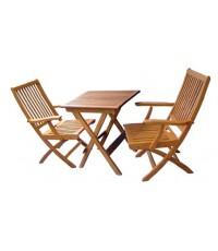 โต๊ะ เก้าอี้พับ ระแนงมีแขน-ชุดเล็ก( โต๊ะ ระแนง65*65+ เก้าอี้ ระแนงใหญ่ มีแขน2ตัว)