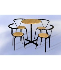 ชุด โต๊ะคอฟฟี่ช็อป Doremon (โต๊ะกลมหน้าไม้75ซม.+เก้าอี้หน้าไม้4ตัว) (ราคาพิเศษเมื่อสั่ง 5 ชุดขึ้นไป)