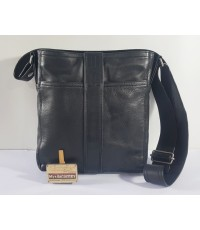 Hermes men's cross body bag in black calfskin