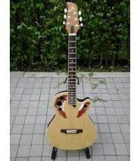 กีต้าร์โปร่ง ไฟฟ้า หลังเต่า Plato ทรงOvation Guitar - Cutaway 38 นิ้ว