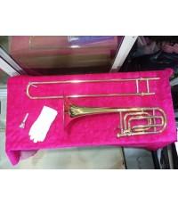 เบส ทรอมโบนWISDOM Bass Trombone-F/Bb tone-Gold lacquer with ABS case-Bore:12.5mm Bell:235mm