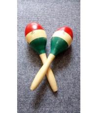 ขาย ลูก แซ ก มาราคัส ลูกแซ็กไข่ ด้ามจับเป็นไม้ Wooden Maracas G-003 ยี่ห้อ TripleSix สีเขียวเหลืองแด