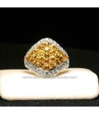 แหวนทองคำ 90.0 หนัก 6.500 กรัม ประดับบุษราคัม2.60 กะรัต ล้อมเพชร 0.84 กะรัต