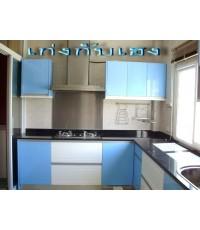 ชุดครัว Built-in ตู้ล่าง โครงซีเมนต์บอร์ด หน้าบาน Hi Gloss สีฟ้า + ขาว