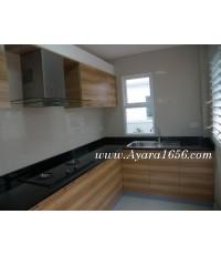 ชุดครัว Built-in ตู้ล่าง โครงซีเมนต์บอร์ด หน้าบาน Melamine สี Refined Oak ลายไม้แนวนอน