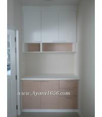 ชุดครัว Built-in ตู้ล่าง โครงซีเมนต์บอร์ด หน้าบาน Melamine สีขาวด้าน + สี FineLine Oak ลายไม้