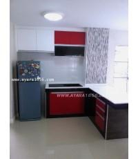 ชุดครัว Built-in โครงซีเมนต์บอร์ด หน้าบาน Acrylic สีขาว+ดำ+แดง