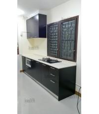 ชุดครัว Built-in ตู้ล่าง โครงซีเมนต์บอร์ด หน้าบาน Melamine สีโอ๊คดำ
