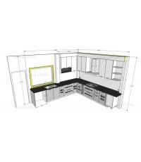 ชุดครัว Built-in โครงซีเมนต์บอร์ด หน้าบาน Acrylic สีเทาลายไม้