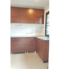 ชุดครัว Built-in ตู้ล่าง โครงซีเมนต์บอร์ด หน้าบาน Laminate สี Lincoin Walnut - ม.Delight