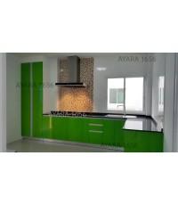 ชุดครัว Built-in ตู้ล่าง โครงซีเมนต์บอร์ด หน้าบาน Hi Gloss สีเขียว