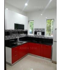 ชุดครัว Built-in ตู้ล่าง โครงซีเมนต์บอร์ด หน้าบาน Hi Gloss สีแดง + ขาว