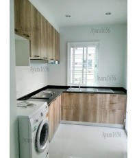 ชุดครัว Built-in ตู้ล่าง โครงซีเมนต์บอร์ด หน้าบาน PVC ลายไม้ - ม.Pruksa Scenery