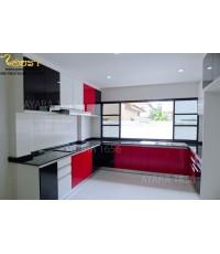 ชุดครัว Built-in โครงซีเมนต์บอร์ด หน้าบาน  Acrylic สีขาว ดำ แดง