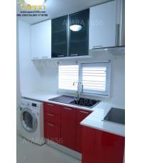 ชุดครัว Built-in โครงซีเมนต์บอร์ด หน้าบาน Acrylic สีขาว+แดง