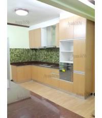 ชุดครัว Built-in ตู้ล่าง โครงซีเมนต์บอร์ด หน้าบาน Melamine+PVC สี Breeze