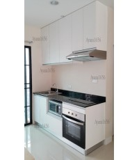 ชุดครัว Built-in ตู้ล่าง โครงซีเมนต์บอร์ด หน้าบาน Melamine สีขาวด้าน - บ้านกลางเมือง