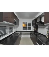 ชุดครัว Built-in ตู้ล่าง โครงซีเมนต์บอร์ด หน้าบาน Melamine สี Oak - ม.ศุภาลัย Garden Ville