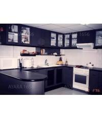 ชุดครัว Built in โครงซีเมนต์บอร์ด หน้าบาน Laminate เทาดำ