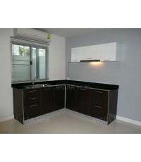 ชุดครัว Built-in ตู้ล่าง โครงซีเมนต์บอร์ด หน้าบาน PVC สี Oak + ขาว