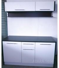 ชุดครัว Built-in ตู้ล่าง โครงซีเมนต์บอร์ด หน้าบาน PVC สีขาวด้าน